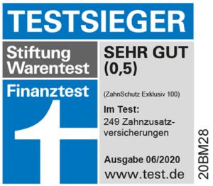 DFV Zahnzusatzversicherung - Testsieger bei Stiftung Warentest mit dem Tarif DFV Zahnschutz Exklusiv 100