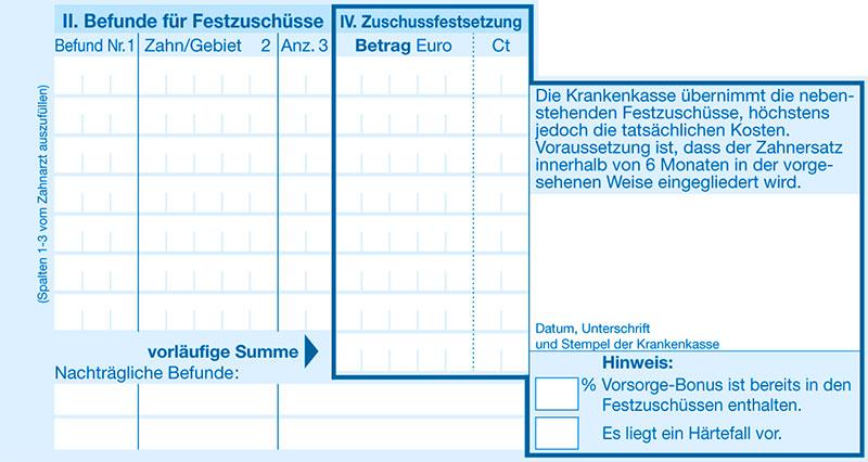 Heil und Kostenplan Abschnitt 3