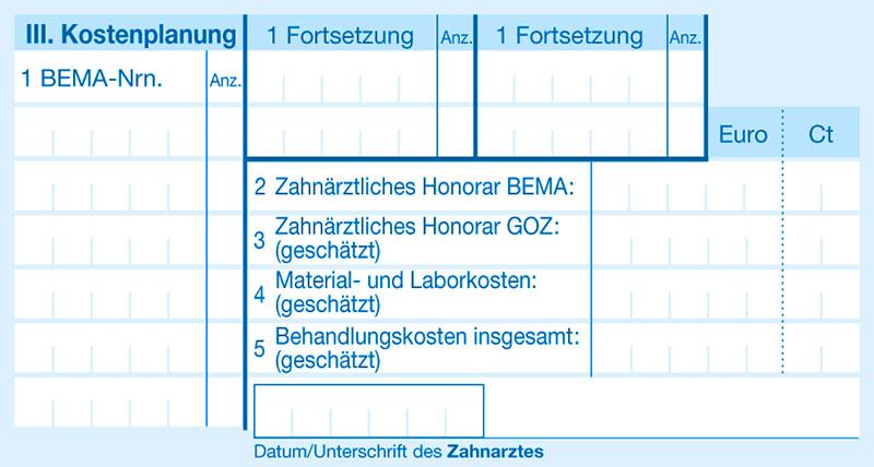 Heil und Kostenplan Abschnitt 4