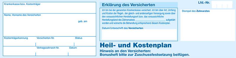 Heil und Kostenplan Abschnitt 1