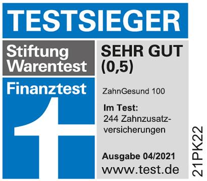 Zahnzusatzversicherung Stiftung Warentest Testsieger 2021 ist der Tarif Münchener Verein ZahnGesund 100